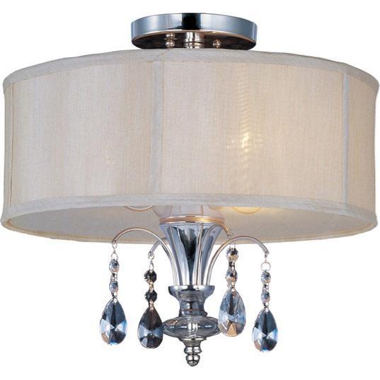 three light clear glass polished nickel drum shade semi flush mount. Black Bedroom Furniture Sets. Home Design Ideas