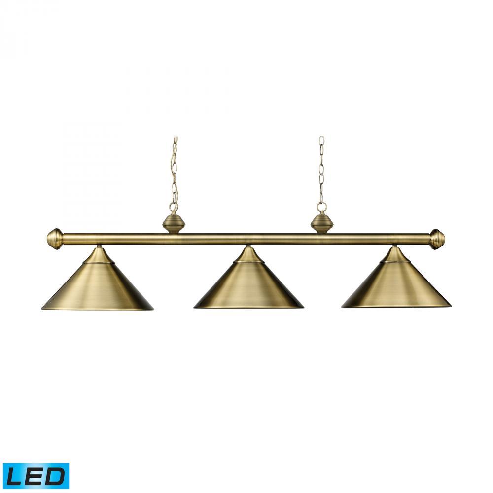 lighting 168 tb led three light antique brass metal shade pool table