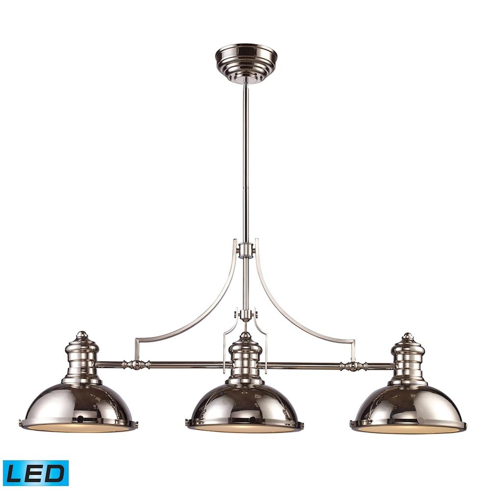 elk lighting 66115 3 led chadwick 3 light led billiard in polished