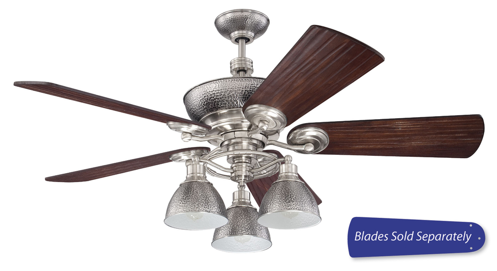 Timarron 54 ceiling fan with light in brushed polished nickel blades sold separately tim54bnk lbu lighting