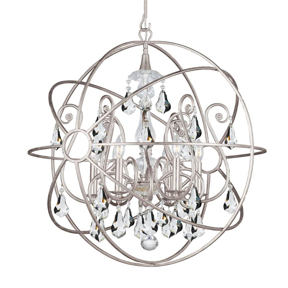 Crystorama solaris 6 light crystal silver sphere chandelier i 9028 crystorama solaris 6 light crystal silver sphere chandelier i aloadofball Images