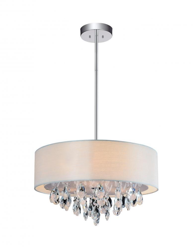 4 Light Drum Shade Chandelier With Chrome Finish