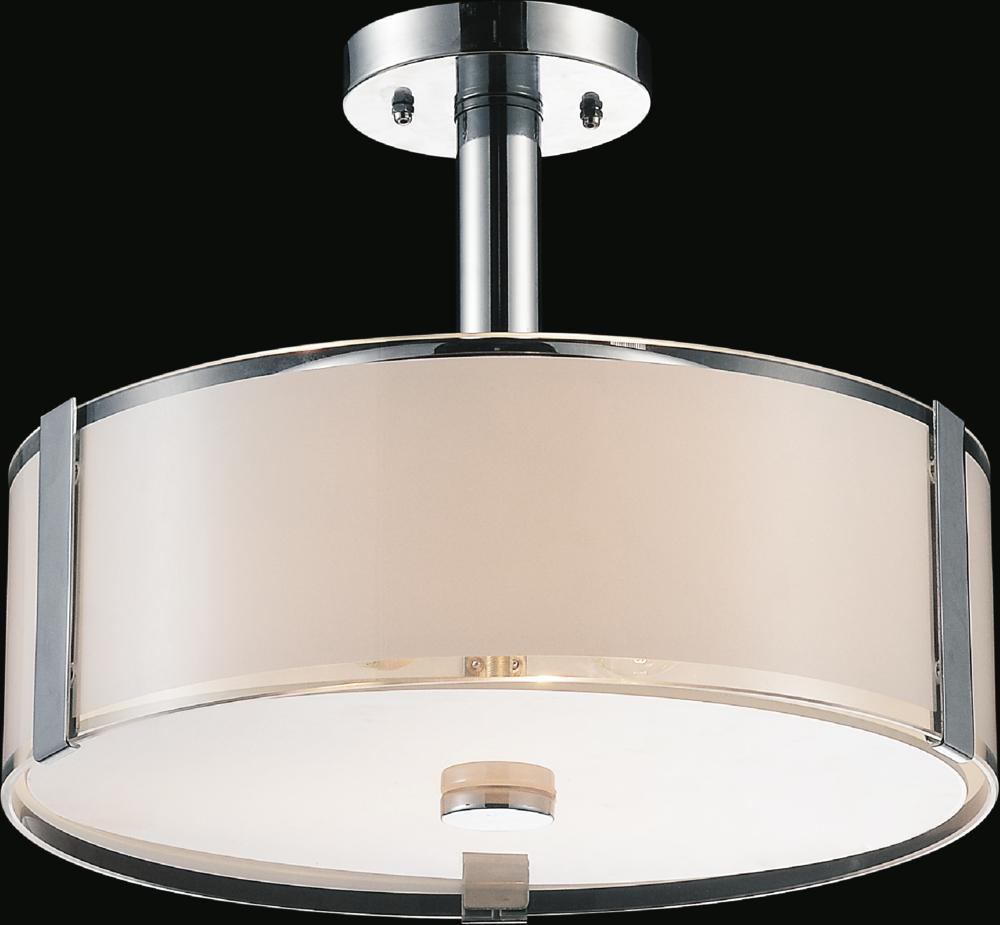 3 Light Drum Shade Chandelier With Chrome Finish