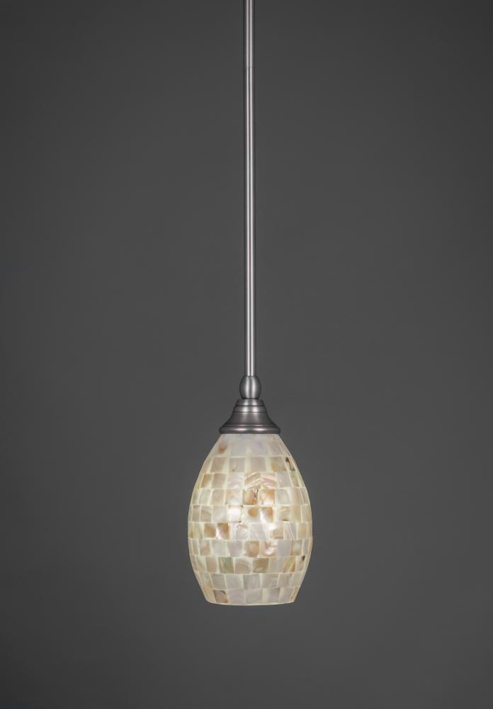 one light brushed nickel seashell glass down mini pendant 23 bn