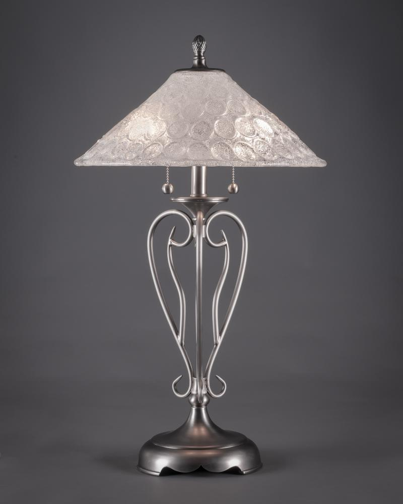 Two Light Brushed Nickel Italian Bubble Glass Table Lamp 42 Bn 411