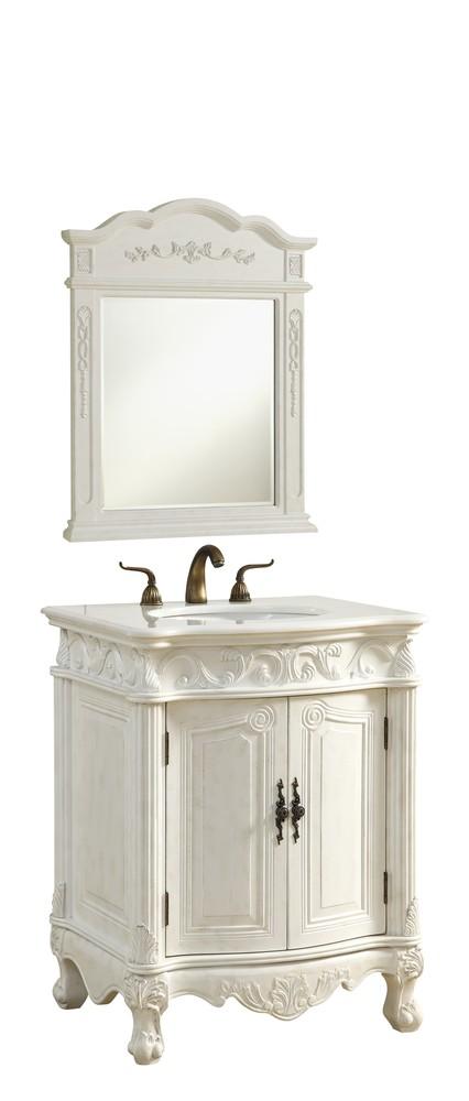 27 In. Single Bathroom Vanity Set In Antique White - 27 In. Single Bathroom Vanity Set In Antique White : VF-1008 LBU