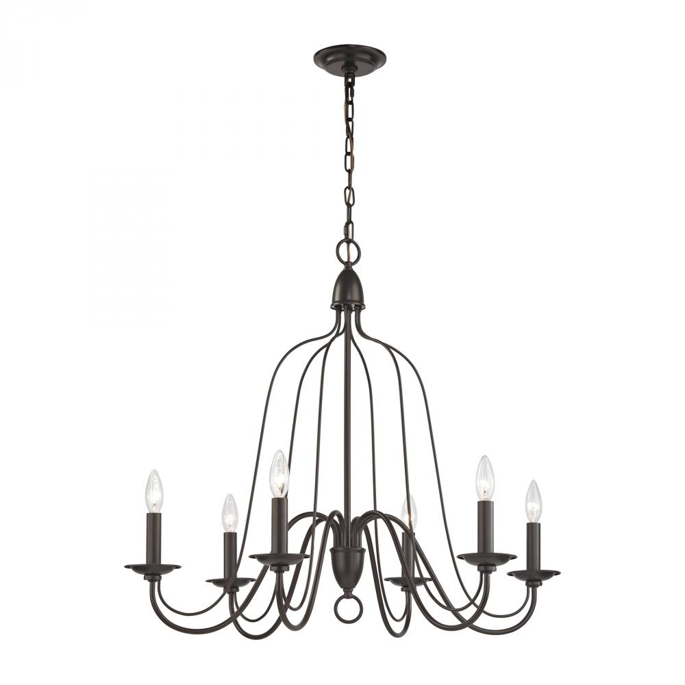 Monroe 6 Light Chandelier In Oil Rubbed Bronze